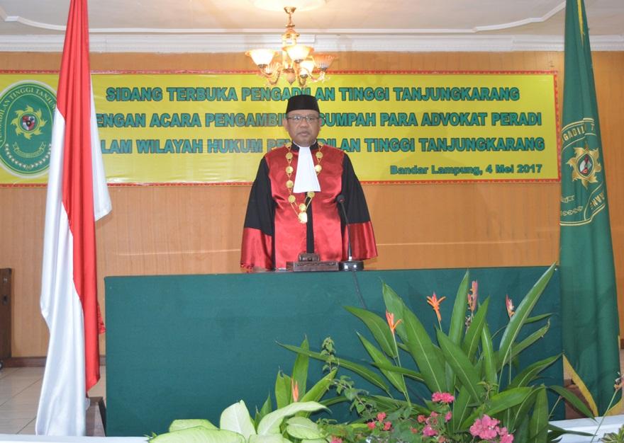 Pengangkatan Dan Pengambilan Sumpah Atau Janji Advokat di Wilayah Hukum Pengadilan Tinggi Tanjungkarang 2017