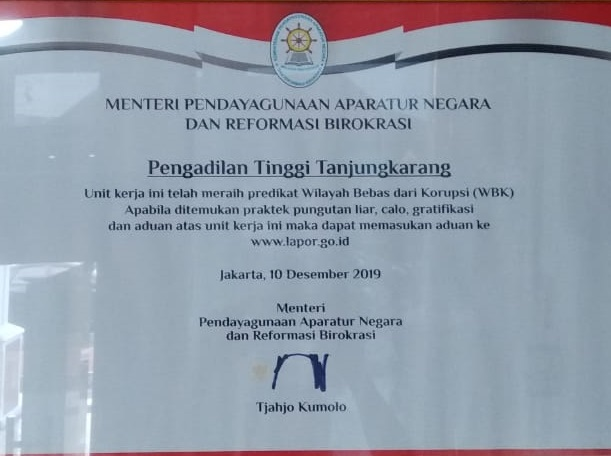 Penghargaan Unit Kerja berpredikat Wilayah Bebas dari Korupsi (WBK)